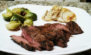 flank and brussel sprouts